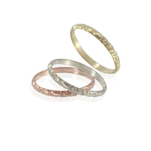Thin Wedding Band, 2mm Rustic band, Yellow, Rose gold, White gold