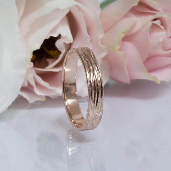 4mm Tree Bark Wedding Band, Nature Inspired. Anvehu Jewelry
