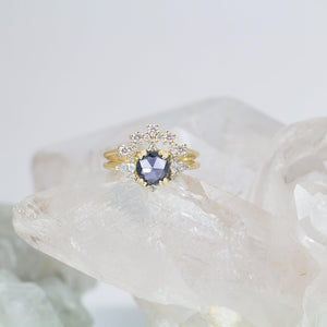 Shira Rosecut Blue Sapphire Cluster Ring