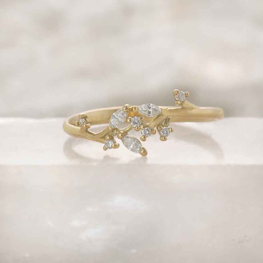Gold twig ring, Leaf Marquise diamond band, Anvehu jewelry