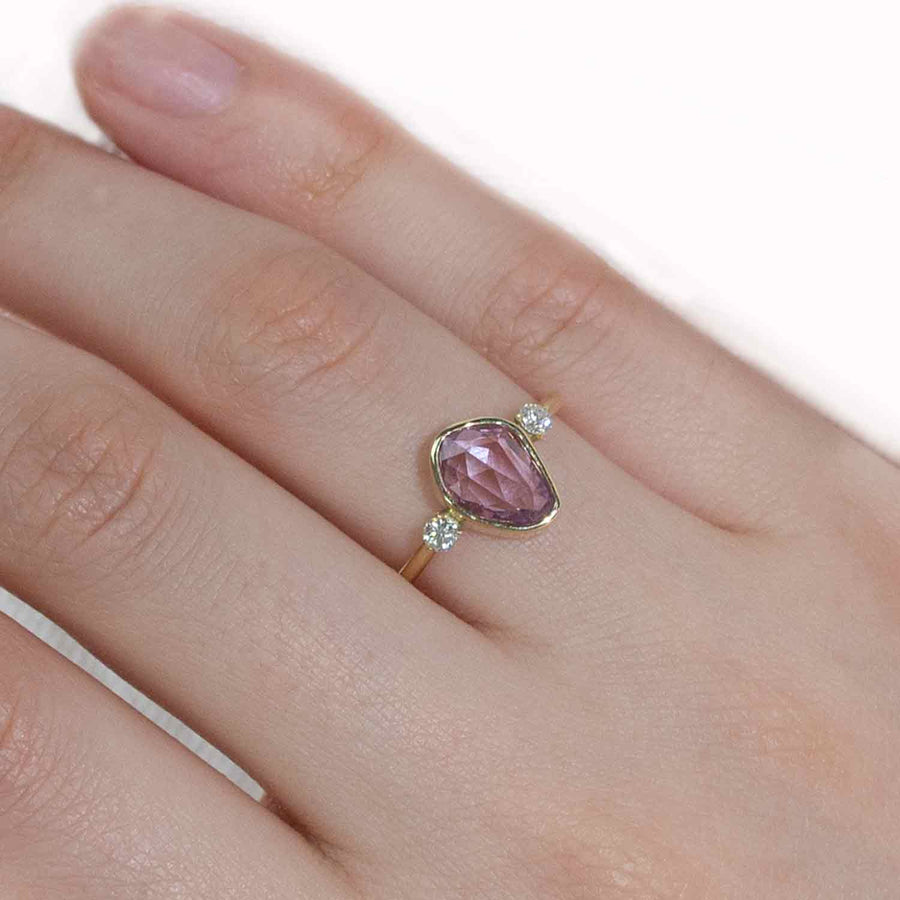 Pink sapphire diamond alternative engagement ring,  Anvehu jewelry