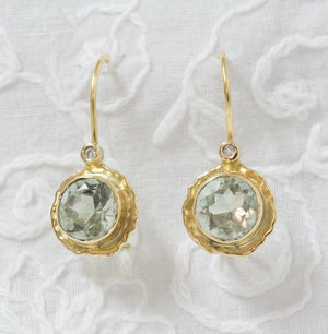Green Amethyst Solid Gold Dangle earrings Anvehu jewelry