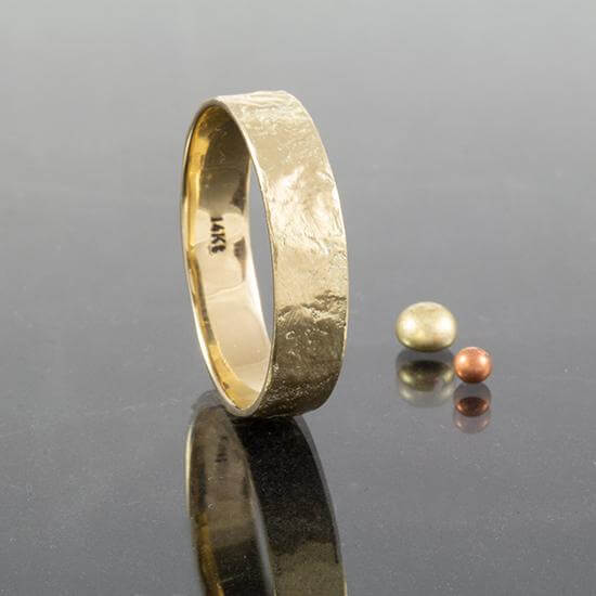 5mm Organic Textured Gold Wedding Band