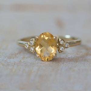 Uniqu Promise ring, Citrine Ring, Birthstone Engagement ring