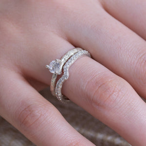 Nature inspired wedding Set, white gold, Anvehu Jewelry