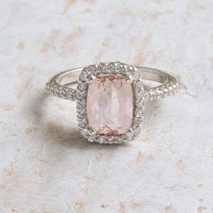 Antique Style Engagement Ring, White gold Morganite Ring, Channa