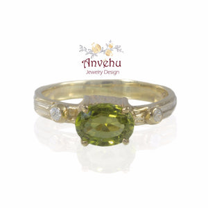Peridot Ring August Birthstone ring Oval 7x5