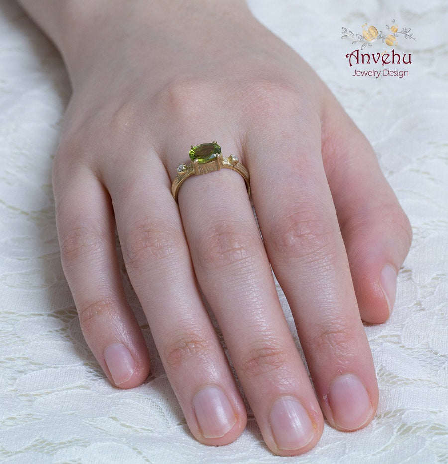 Peridot Twig Ring Gold ring, Nature Ring - Alona 2