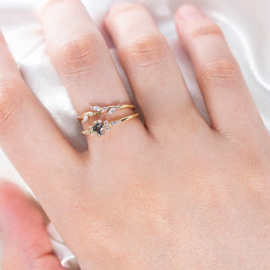 Leaf diamond band - Shaked ring