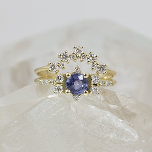 Lilach Sapphire Engagement Ring Set, Diamond Crown Wedding Band Anvehu Jewelry