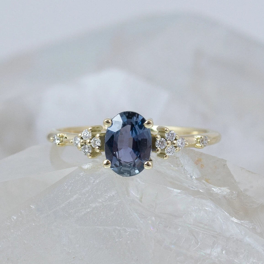 Maayan Oval Parti Blue Sapphire Ring