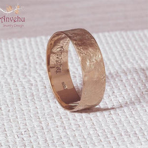 14k Rose gold Wedding Ring, Textured Men's Band, Anvehu Jewelry