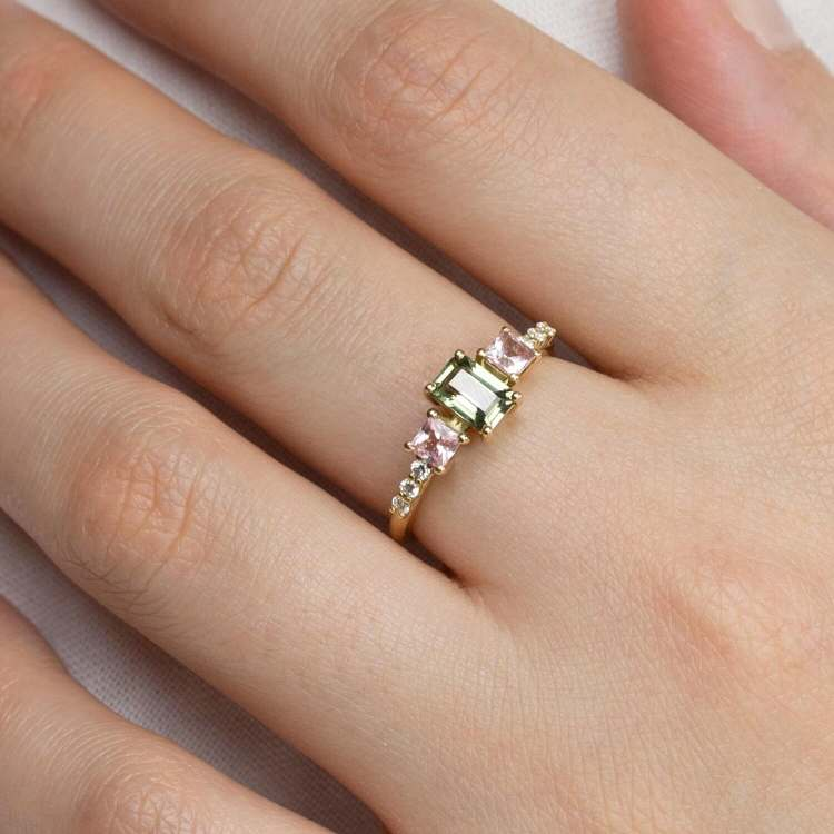 Noga Green And Blush Pink Sapphire Ring
