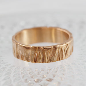 Rose Gold Men's Oak Branch Texture Wedding Band, Anvehu Jewelry