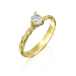 Twig Engagement Ring Set, Gold Diamond Nature Ring, Anvehu Jewelry