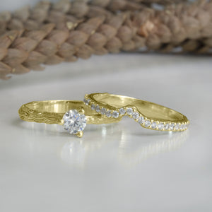 Twig Wedding Ring Set, Gold Diamond Ring, Anvehu Jewelry IMG_2149 W Anvehu jewelry Design