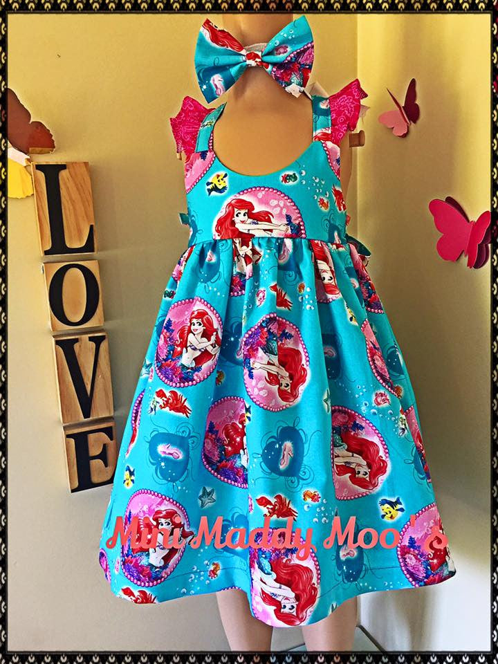 The Little Mermaid Fairy Dress & Bow - Mini Maddy Moo's