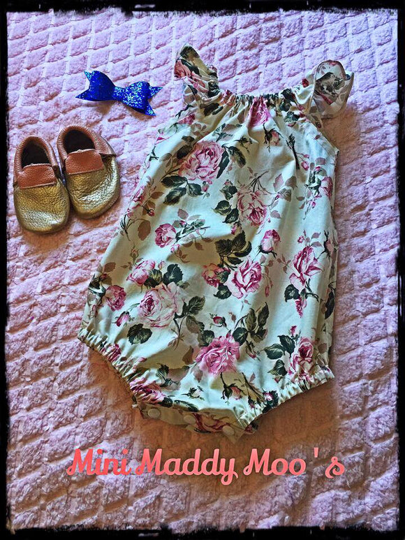 Vintage Rose Seaside Playsuit - Mini Maddy Moo's