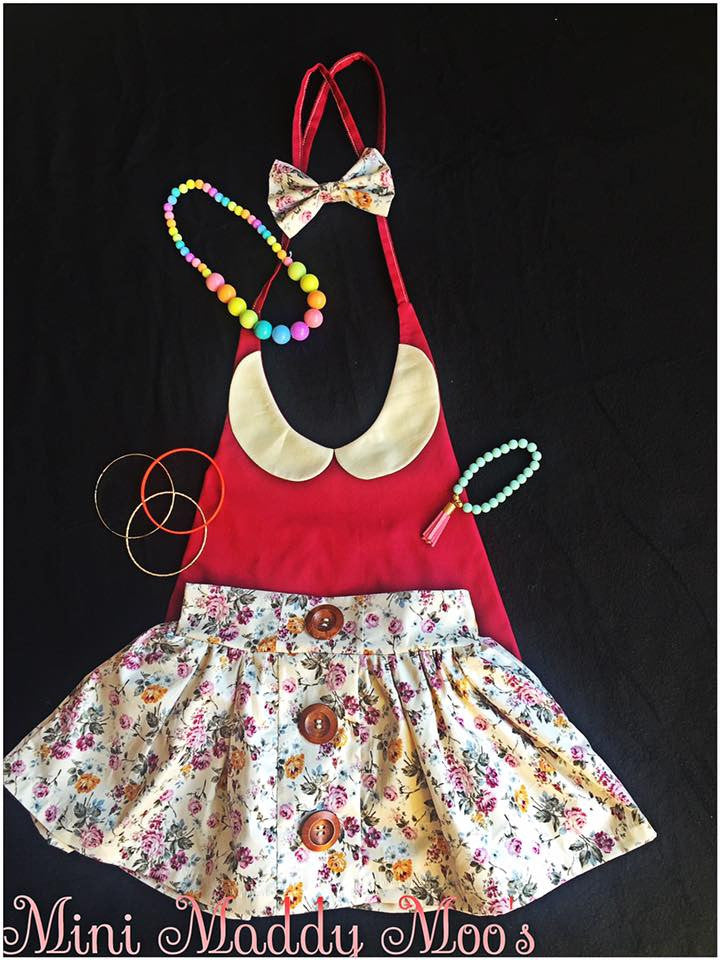 Adelaide Maddy Button Skirt & Lilly Collar Top - Mini Maddy Moo's