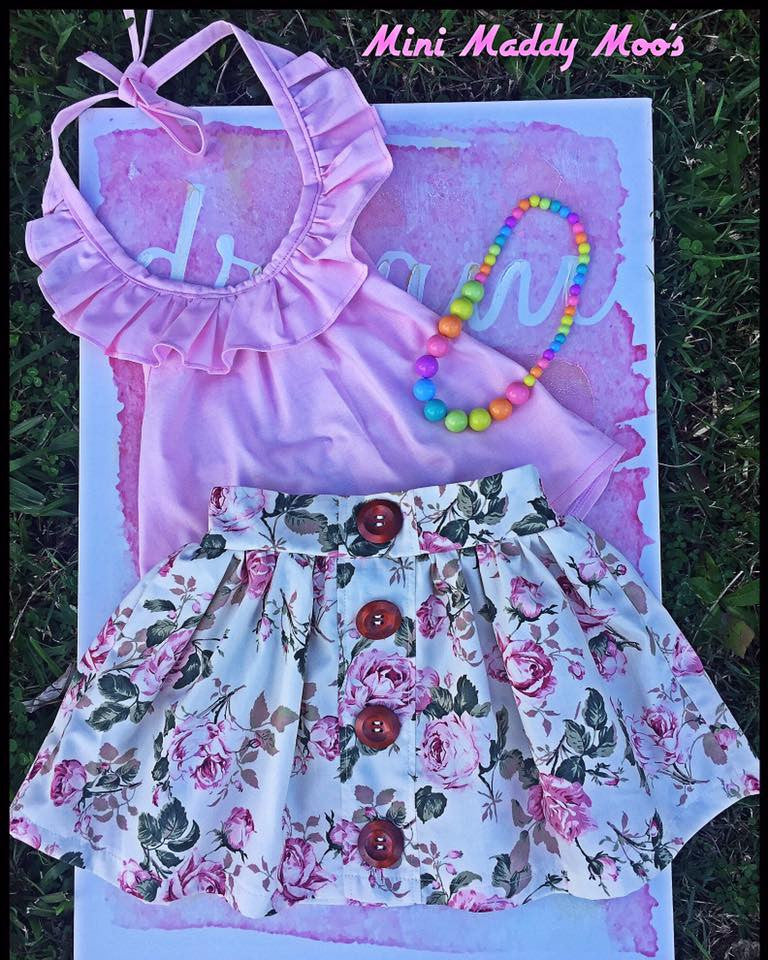 Vintage Rose Maddy Button Skirt & Lilly Ruffle Top - Mini Maddy Moo's