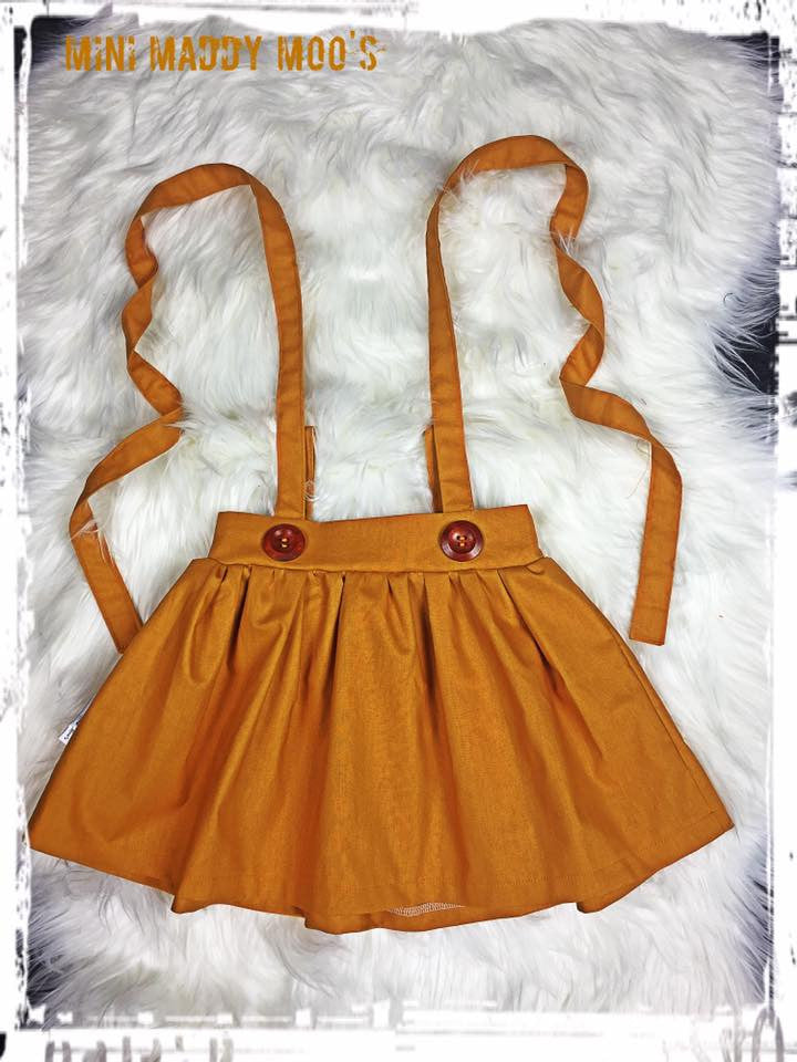 Mustard Suspender Skirt - Mini Maddy Moo's