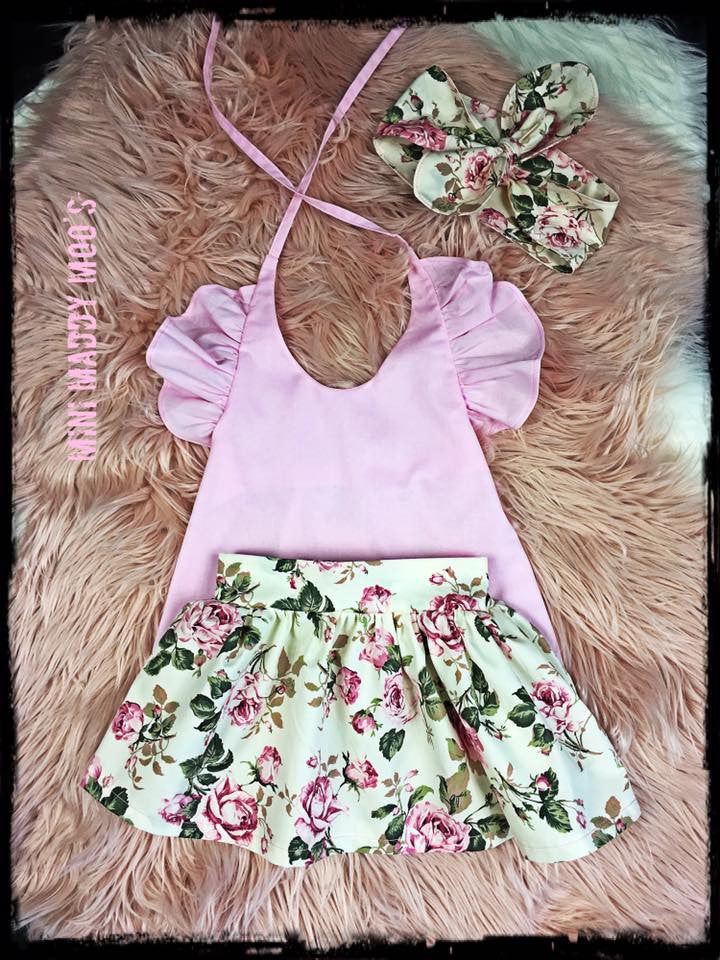 Vintage Rose Maddy Button Skirt & Lilly Flutter Top - Mini Maddy Moo's