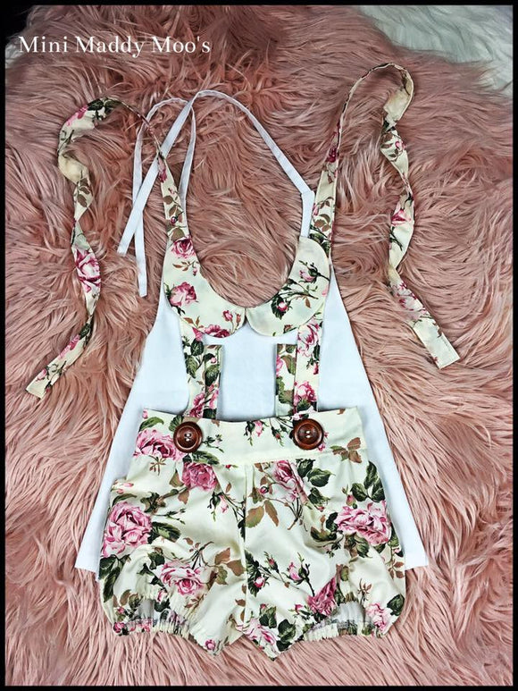 Vintage Rose Suspender Puckers and Lilly Collar Top - Mini Maddy Moo's