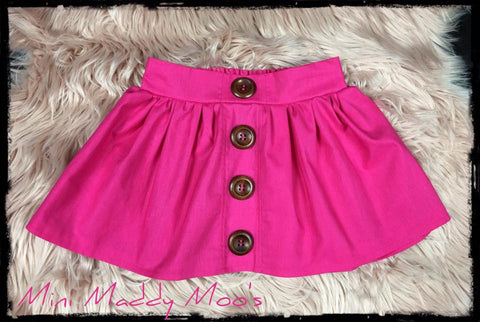 Hot Pink Maddy Button Skirt