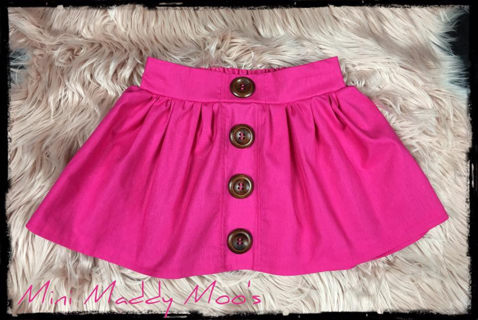 Hot Pink Maddy Button Skirt - Mini Maddy Moo's