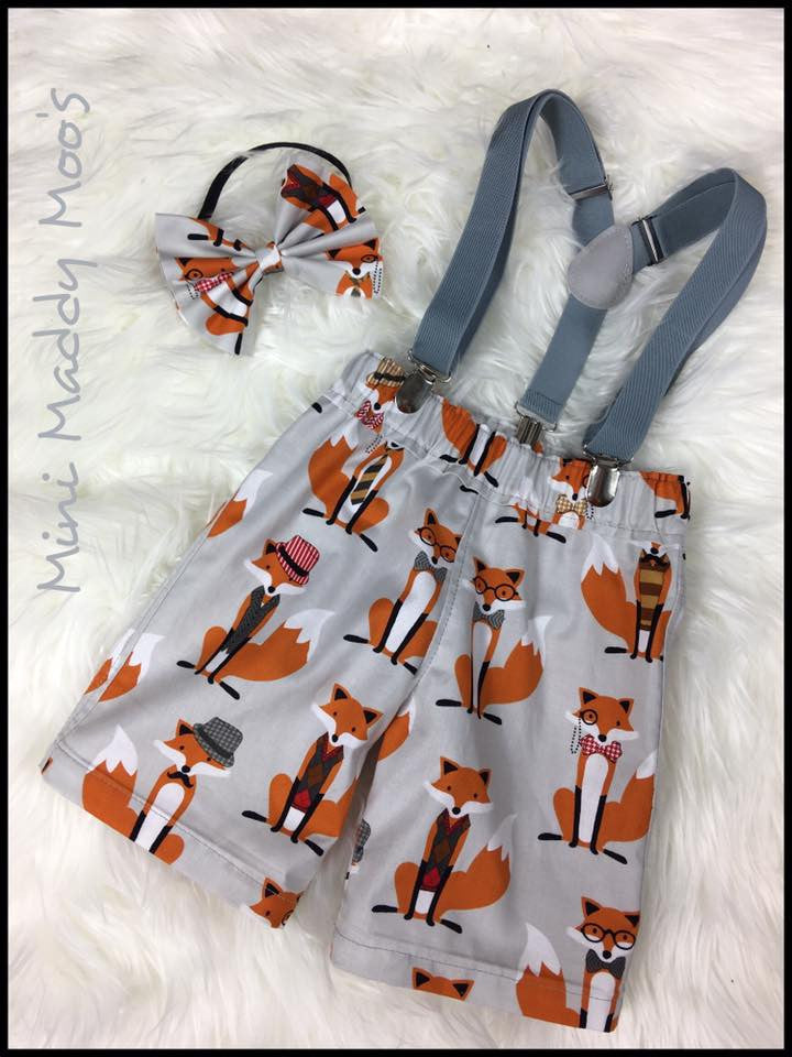 Custom - Boy's Suspender Short Set - Mini Maddy Moo's