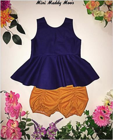 Navy Peplum &  Mustard Pucker Set
