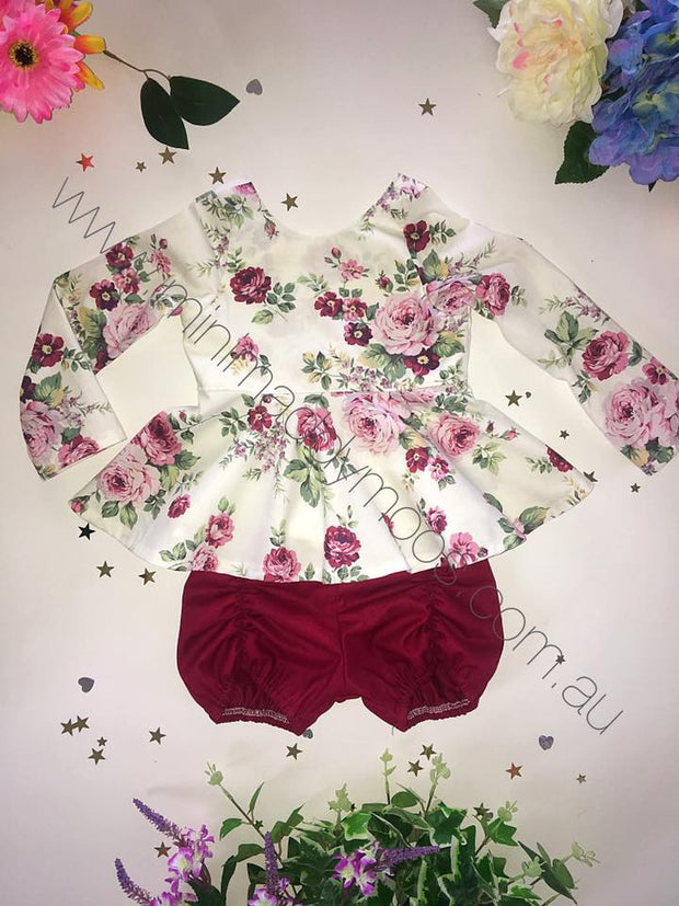 Custom - Longsleeve Peplum & Pucker Set - Mini Maddy Moo's