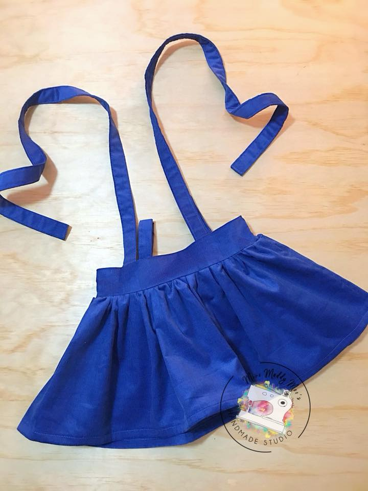 Royal Blue Corduroy & Gun Metal Suspender Skirt's - Mini Maddy Moo's