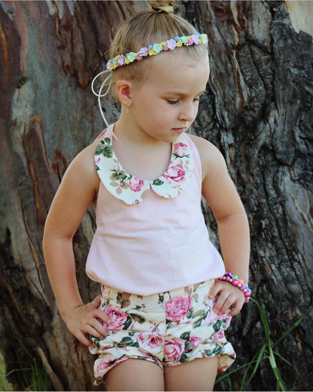 Vintage Rose Puckers and Lilly Collar Top Set - Mini Maddy Moo's