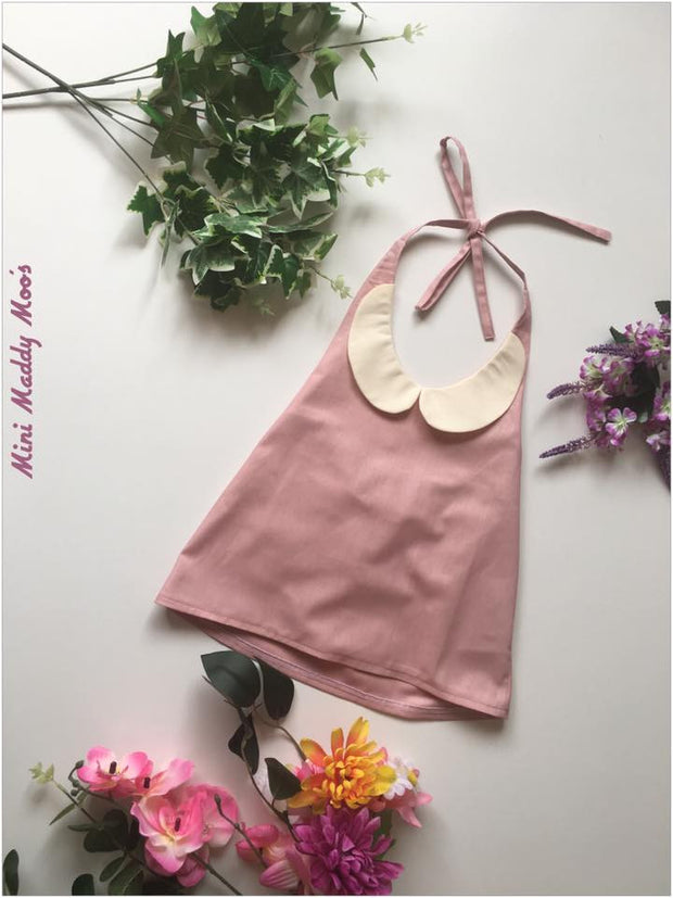 Dusty Pink Collar Top - Mini Maddy Moo's