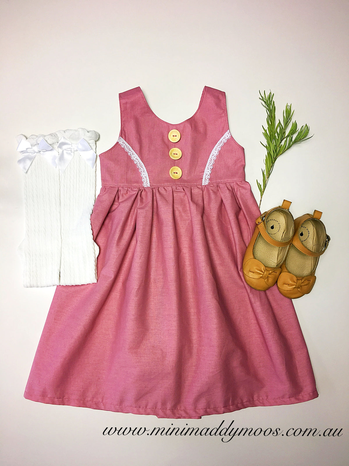 Dusty Pink Milly Rose Button Dress - Mini Maddy Moo's