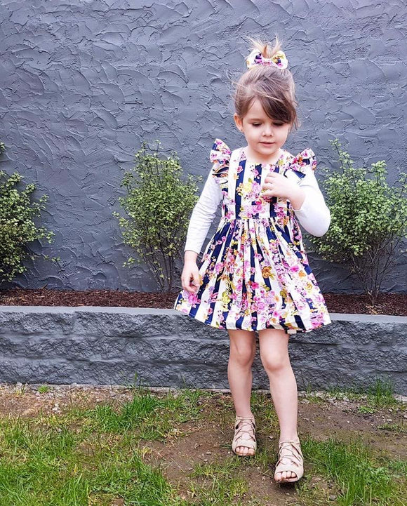 Harlow Navy Polly Pinafore - Mini Maddy Moo's