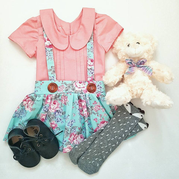 Custom - Pintuck Blouse & Suspender Skirt Set - Mini Maddy Moo's