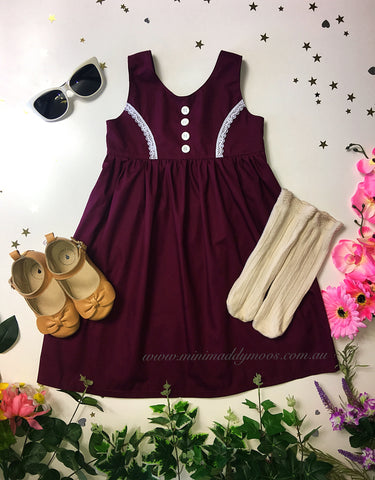 Eggplant Milly Rose Button Dress - Mini Maddy Moo's