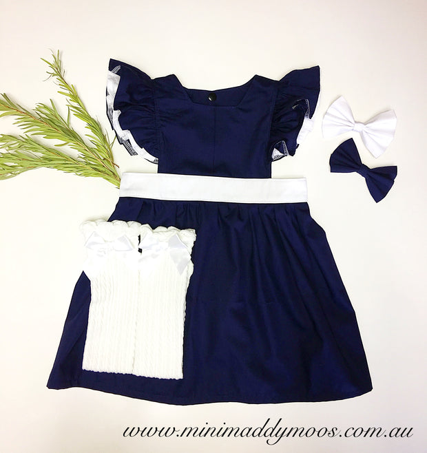 Navy & White Polly Pinafore - Mini Maddy Moo's
