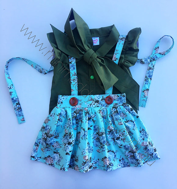 Lilia Suspender Skirt & Olive Harlow Blouse - Mini Maddy Moo's