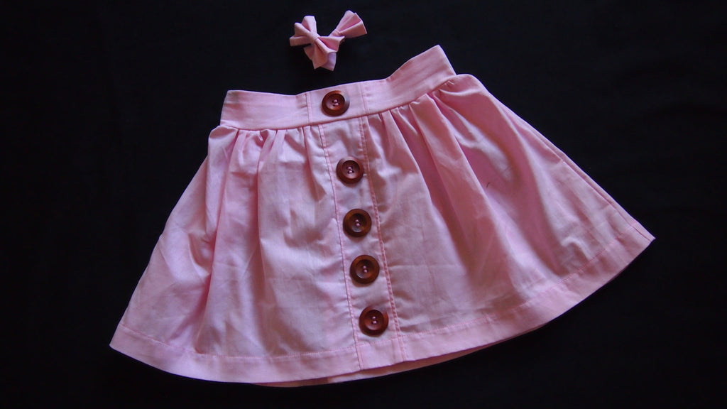 Blush Maddy Button Skirt with Bow