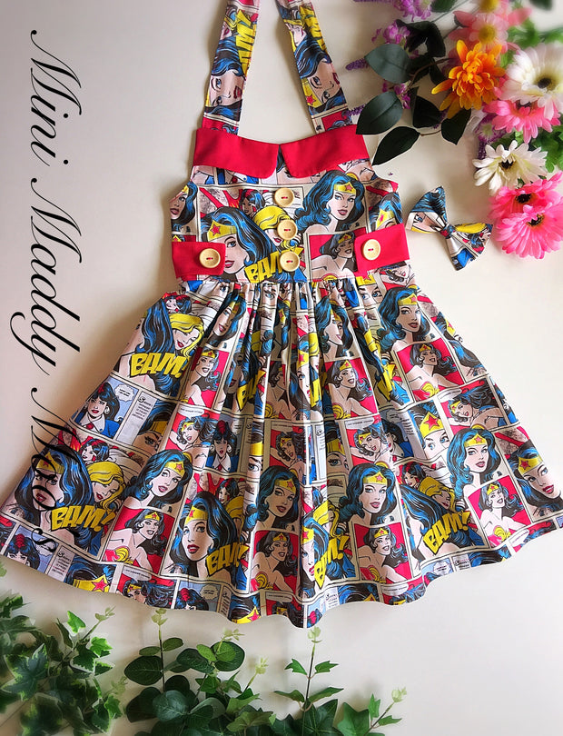 Ladies Wonder Woman Ginger Dress - Mini Maddy Moo's
