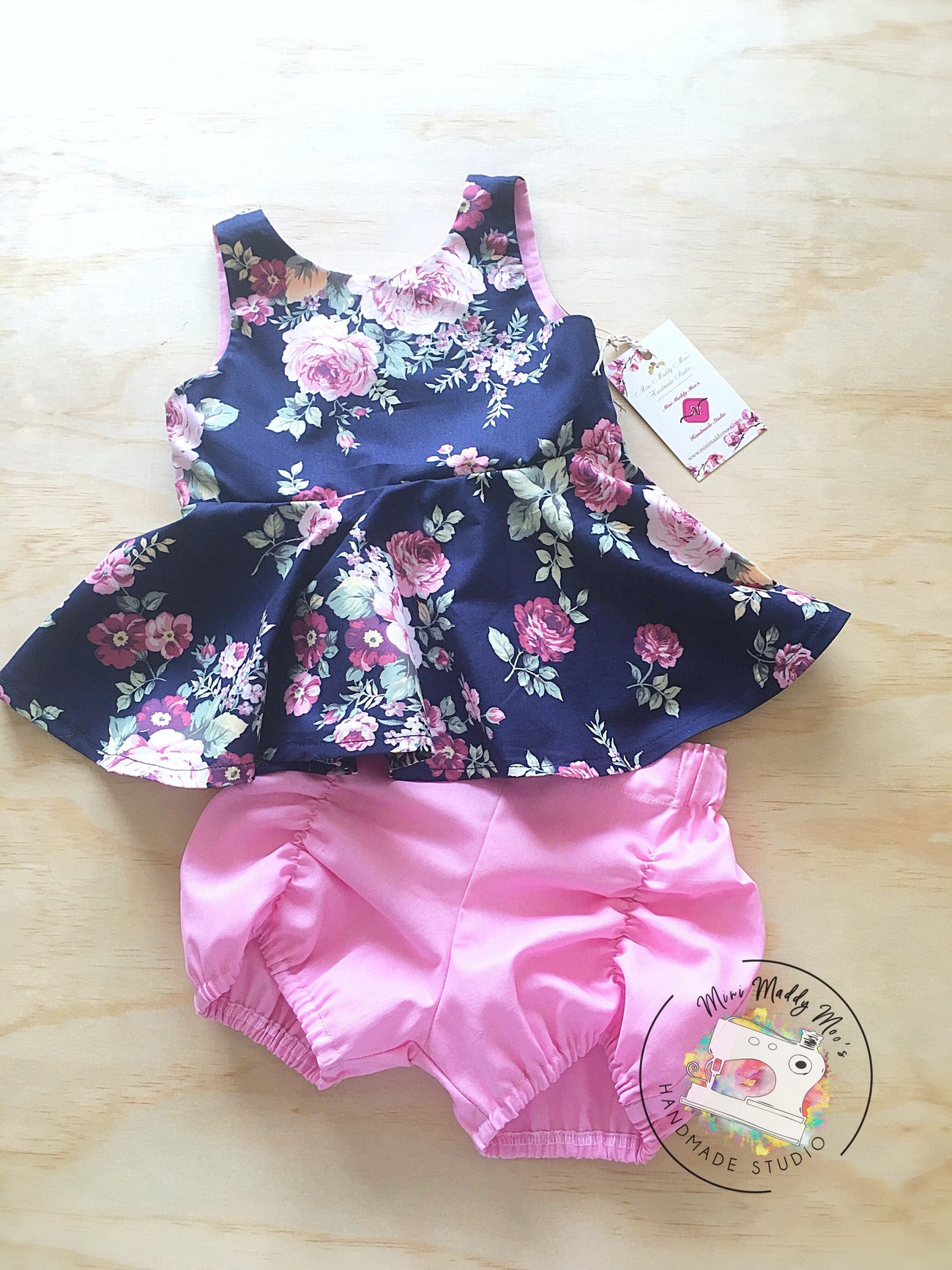 Charlotte Navy Peplum & Baby Pink Pucker Set - Mini Maddy Moo's