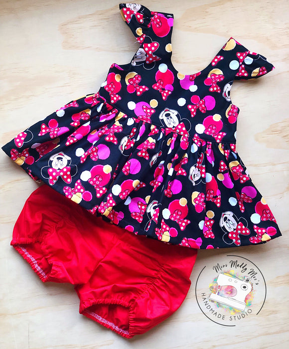 Minnie Mouse Tea Party Peplum & Red Pucker Set - Mini Maddy Moo's