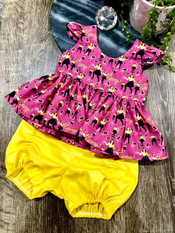 Emma Wiggle Tea Party Peplum & Pucker Set - Mini Maddy Moo's