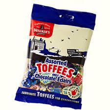 WALKERS ASSORTED TOFFEES & ECLAIRS HANGSELL 150G