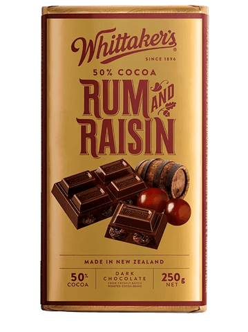 WHITTAKERS RUM & RAISIN BLOCK 250G