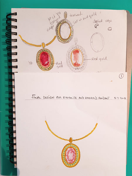 Design process, sketches for rhodonite garnet and emerald pendant in yellow gold