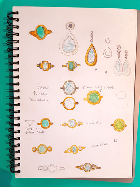 Design process, drawing of potential designs for Paraiba tourmaline rings